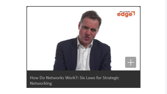 A video still from Big Think Video How do Networks Work by Niall Ferguson